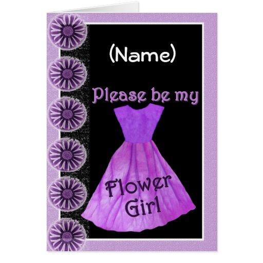 CUSTOM NAME Flower Girl Invitation PURPLE Dress Card