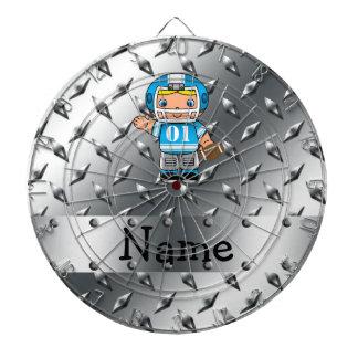 Custom name football player silver diamond plate dartboards