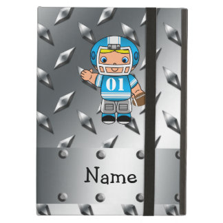 Custom name football player silver diamond plate iPad folio cases