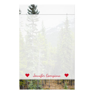 Custom Name + Forest and Mountain Scene Stationery