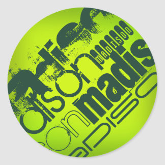 Custom Name; Forest Green & Neon Chartreuse Yellow Round Stickers