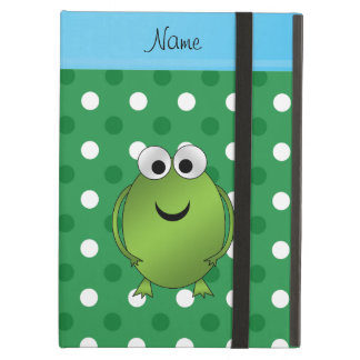 Custom name frog green white dots blue stripe cover for iPad air