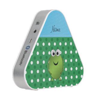 Custom name frog green white dots blue stripe
