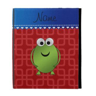 Custom name frog red squares blue stripe iPad folio covers