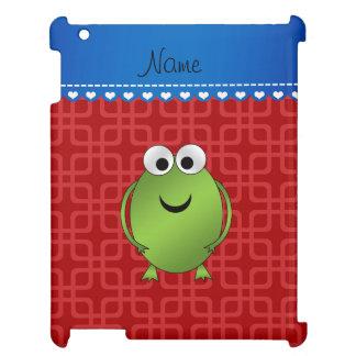 Custom name frog red squares blue stripe iPad cover