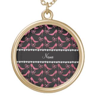 Custom name fuchsia pink glitter high heels bow jewelry