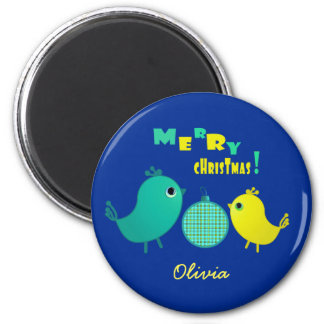 Custom Name Fun Bird Design Christmas Magnets