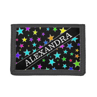 Custom Name + Fun, Colorful Stars Pattern Wallet