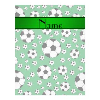 Custom name fun green soccer balls green stripe personalized flyer
