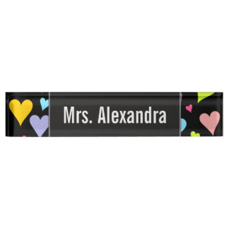 Custom Name + Fun, Loving, Colorful Hearts Pattern Name Plate