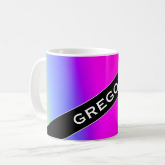 Custom Name; Fun Multicolored Rainbow-Like Pattern Coffee Mug