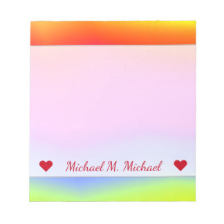 Custom Name; Fun Multicolored Rainbow-Like Pattern Notepad