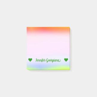 Custom Name; Fun Multicolored Rainbow-Like Pattern Post-it Notes