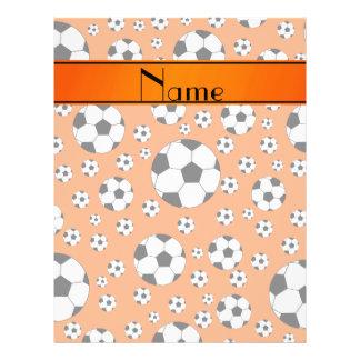 Custom name fun orange soccer balls orange stripe full color flyer