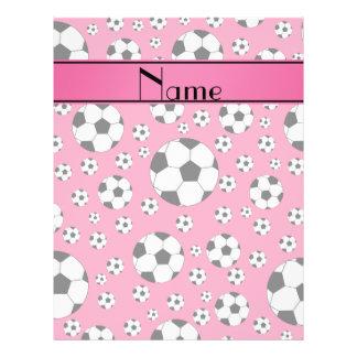 Custom name fun pink soccer balls pink stripe flyer design