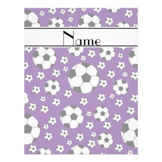 Custom name fun purple soccer balls white stripe flyer