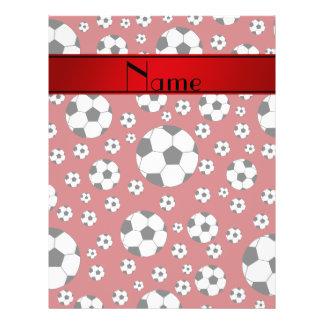 Custom name fun red soccer balls red stripe 21.5 cm x 28 cm flyer