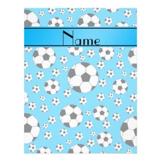 Custom name fun sky blue soccer balls blue stripe flyer
