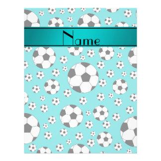 Custom name fun turquoise soccer balls and stripe full color flyer