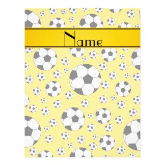 Custom name fun yellow soccer balls yellow stripe custom flyer