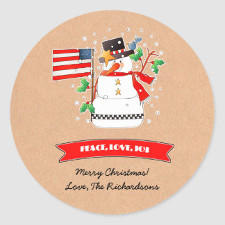 Custom Name Funny Snowma Christmas Gift Stickers