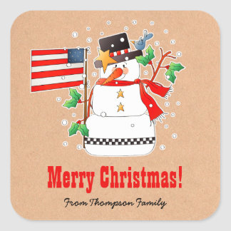 Custom Name Funny Snowman Christmas Gift Stickers