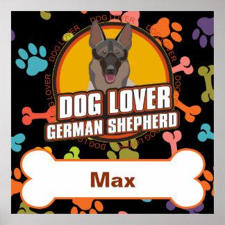 Custom Name German Shepherd Dog Bone Puppy Paws Poster