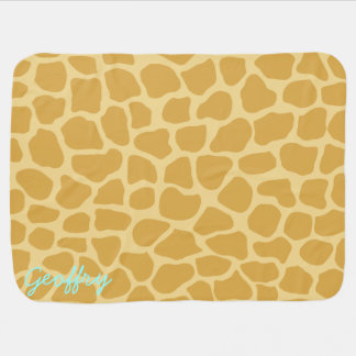 Custom Name Giraffe Print Baby Blanket