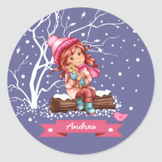 Custom Name Girly Design Christmas Gift Stickers