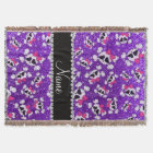 Custom name glitter indigo purple skulls pink bows throw blanket