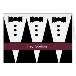 CUSTOM NAME Godson Invitation Three Tuxedos