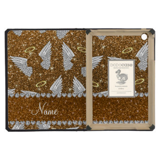 Custom name gold glitter angel wings iPad mini case