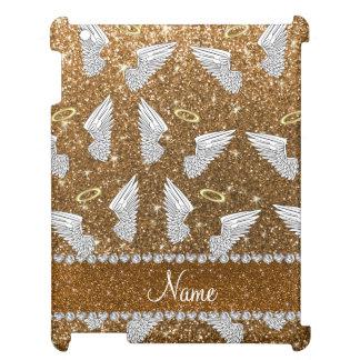 Custom name gold glitter angel wings iPad case