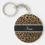 Custom name gold glitter cheetah print basic round button key ring