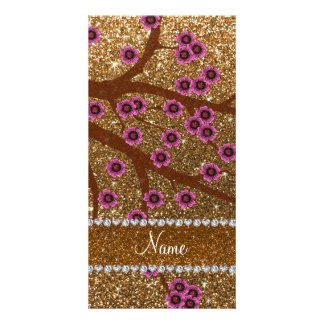 Custom name gold glitter cherry blossoms photo card template
