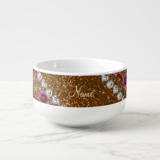 Custom name gold glitter cherry blossoms soup mug
