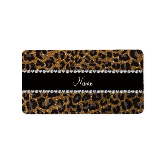 Custom name gold glitter leopard print address label