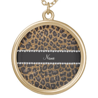 Custom name gold glitter leopard print round pendant necklace