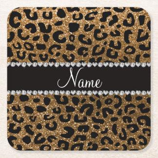 Custom name gold glitter leopard print square paper coaster