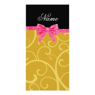 Custom name gold swirls pink glitter bow photo greeting card