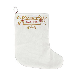 Custom Name Gold Swirls Red Berries Christmas Large Christmas Stocking
