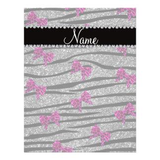 Custom name gray zebra stripes pink bows flyers