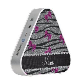 Custom name gray zebra stripes pink bows speaker