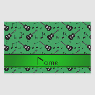 Custom name green black guitars music notes stickers