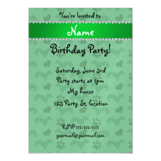 Custom name green dachshunds hearts paws magnetic invitations