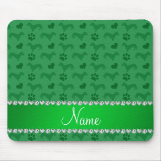 Custom name green dachshunds hearts paws mousepads