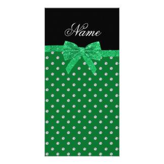 Custom name green diamonds glitter bow personalized photo card