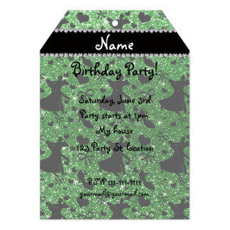 Custom name green glitter ballroom dancing custom invitations