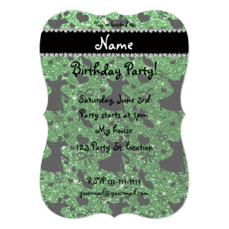 Custom name green glitter ballroom dancing custom announcement