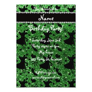 Custom name green glitter ballroom dancing custom invitation cards